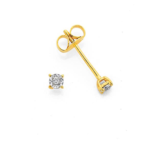 9ct Gold Diamond Claw Stud Earrings