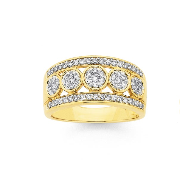 9ct Gold, Diamond Cluster 3 Row Band