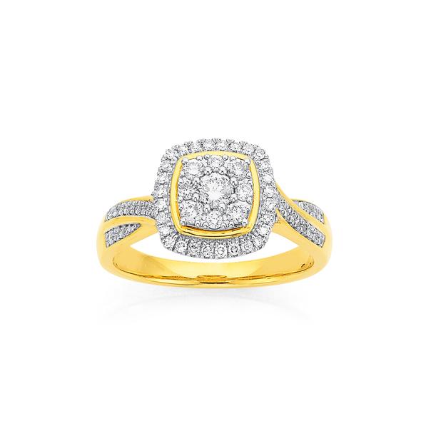 9ct Gold Diamond Cluster Cushion Shape Ring