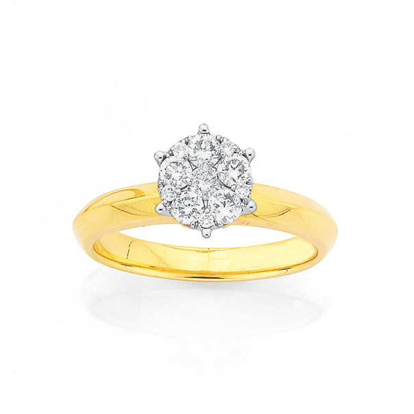 9ct Gold, Diamond Cluster Dress Ring