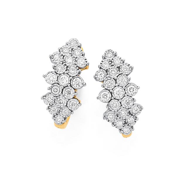 9ct Gold Diamond Cluster Hoop Earrings