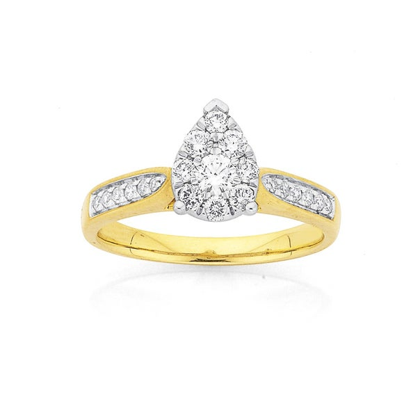 9ct Gold Diamond Cluster Pear Shape Ring