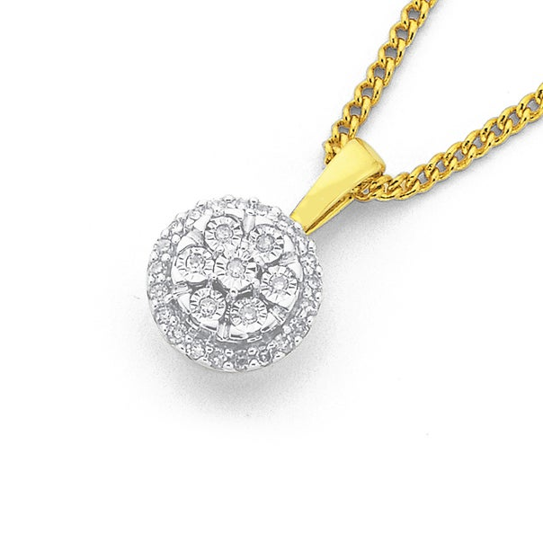 9ct Gold, Diamond Cluster Pendant