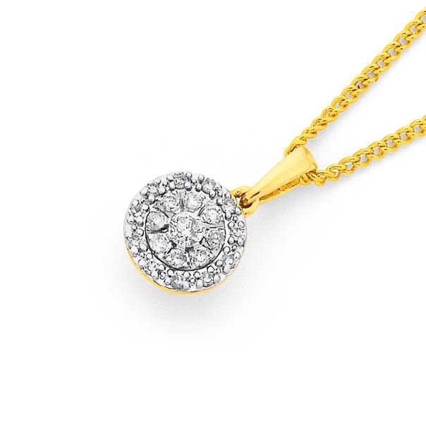 9ct Gold, Diamond Cluster Pendant