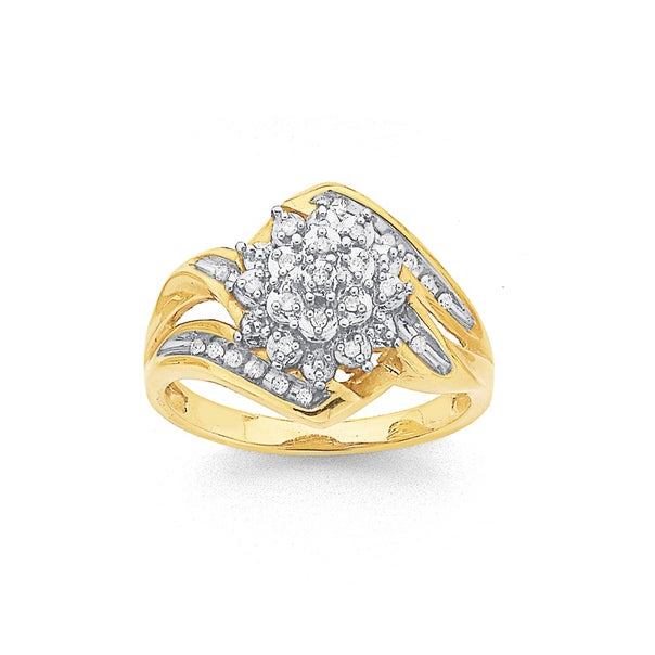 9ct Gold, Diamond Cluster Ring