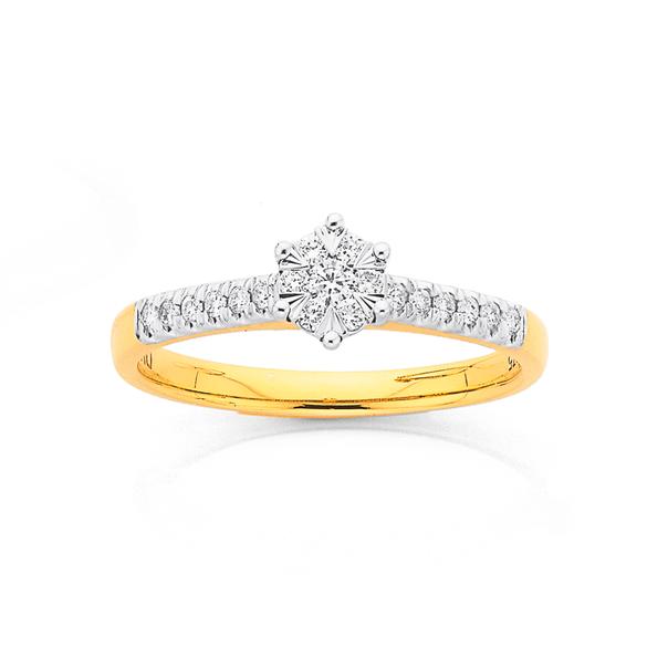9ct Gold Diamond Cluster Shoulder Set Ring
