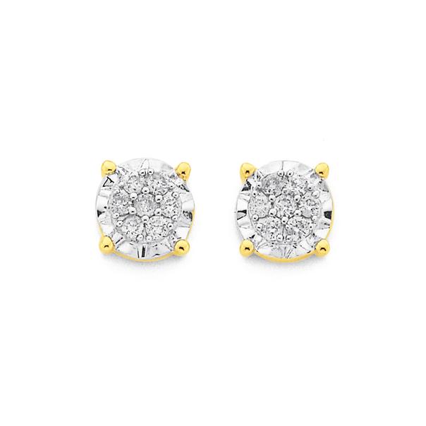 9ct Gold, Diamond Cluster Stud Earrings