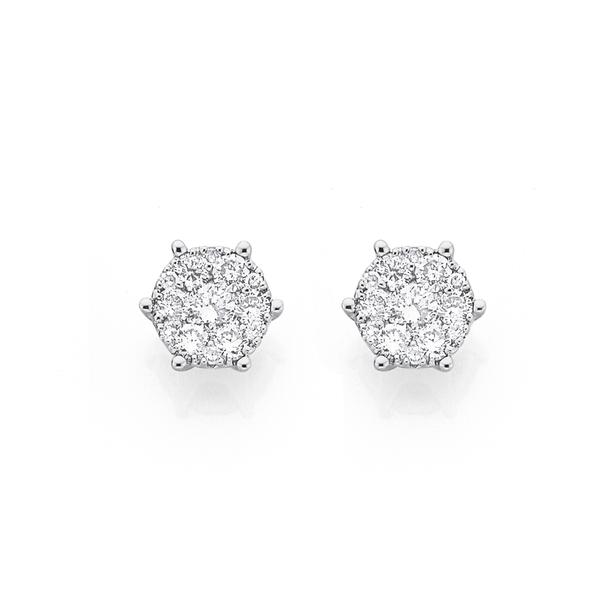 9ct Gold Diamond Cluster Stud Earrings