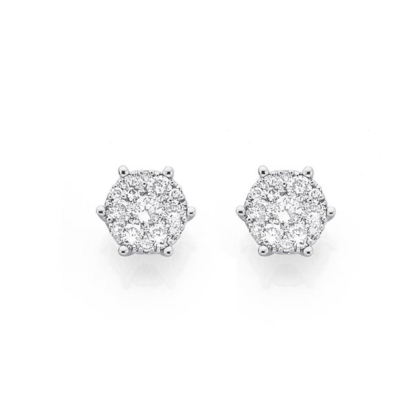 9ct Gold Diamond Cluster Stud Earrings