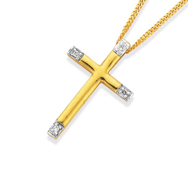 9ct Gold, Diamond Cross Pendant