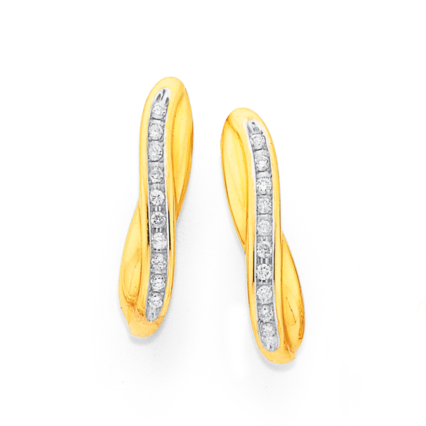 9ct Gold Diamond Crossover Channel Set Hoop Earrings