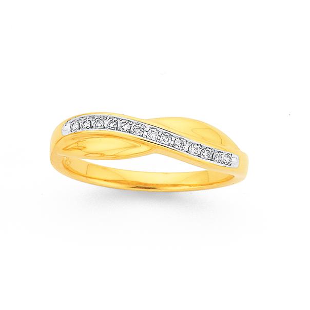 9ct Gold Diamond Crossover Ribbon Ring