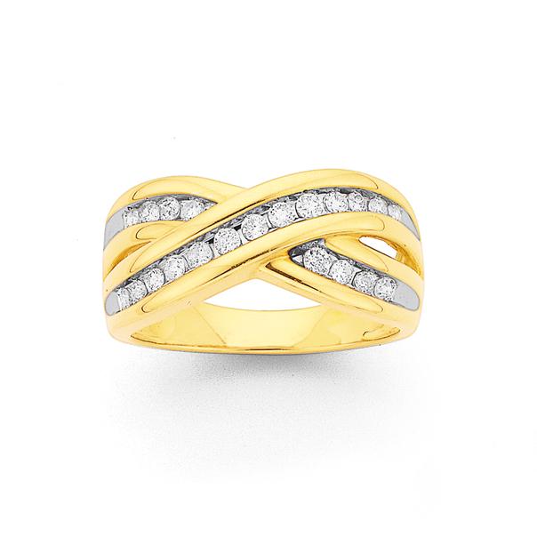 9ct Gold, Diamond Crossover Ring