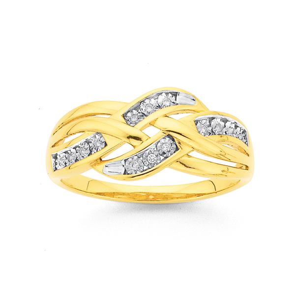 9ct Gold, Diamond Crossover Swirl Ring