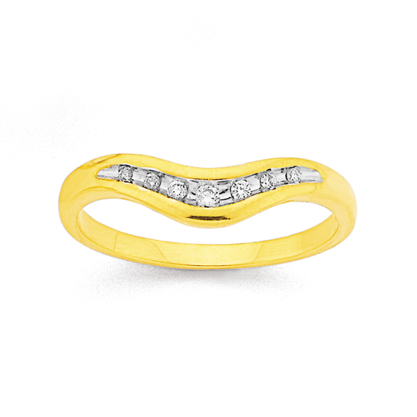 9ct Gold, Diamond Curved Band