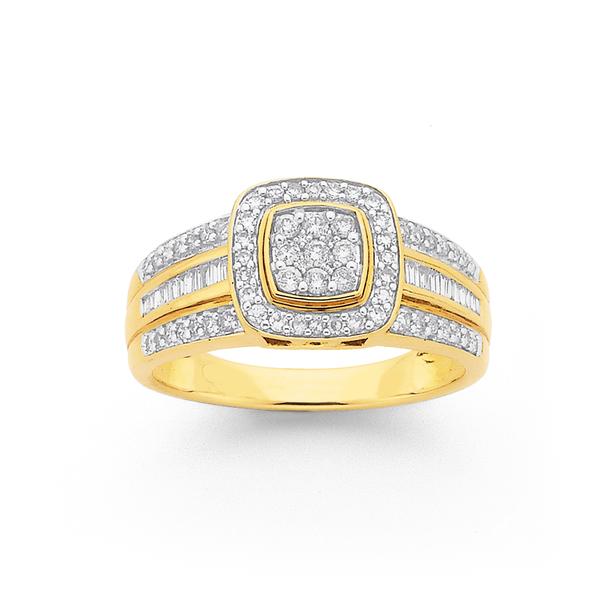 9ct Gold Diamond Cushion Shape Ring TDW=.50ct