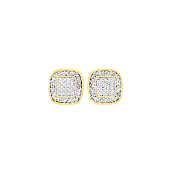 9ct Gold Diamond Cushion Shape Stud Earrings