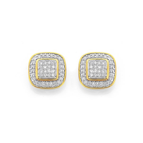 9ct Gold Diamond Cushion Shape Stud Earrings