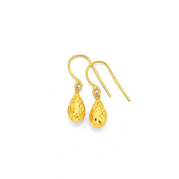 9ct Gold Diamond-cut Bomber Drop Earrings
