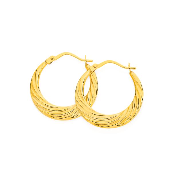 9ct Gold Diamond-cut Creole Earrings