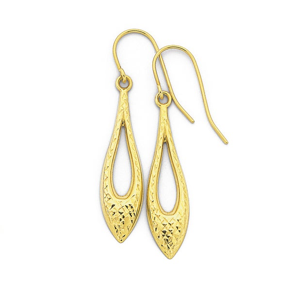 9ct Gold, Diamond Cut Marquise Drop Earrings