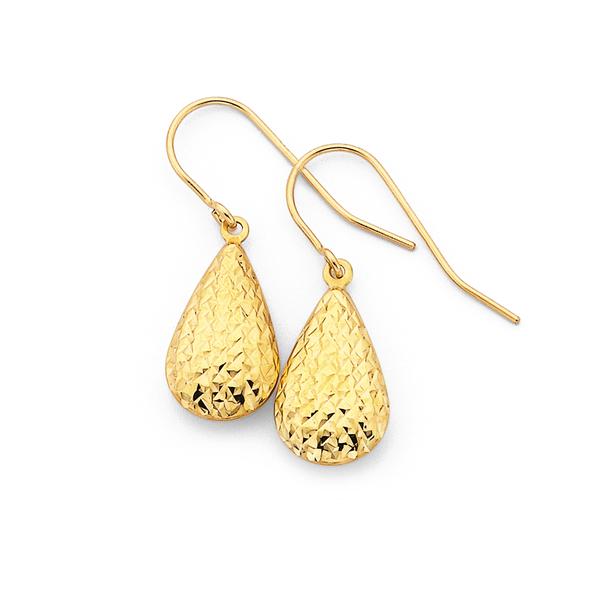 9ct Gold Diamond-Cut Pear Drop Earrings