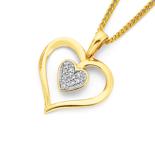 9ct Gold Diamond Double Heart Pendant