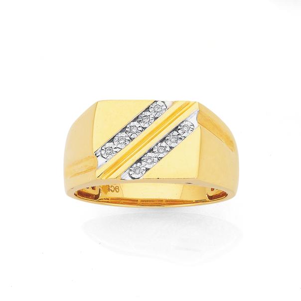 9ct Gold Diamond Gents Ring