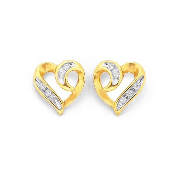 9ct Gold, Diamond Heart Stud Earrings