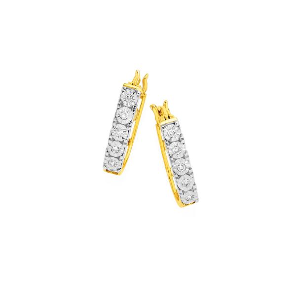 9ct Gold, Diamond Hoop Earrings
