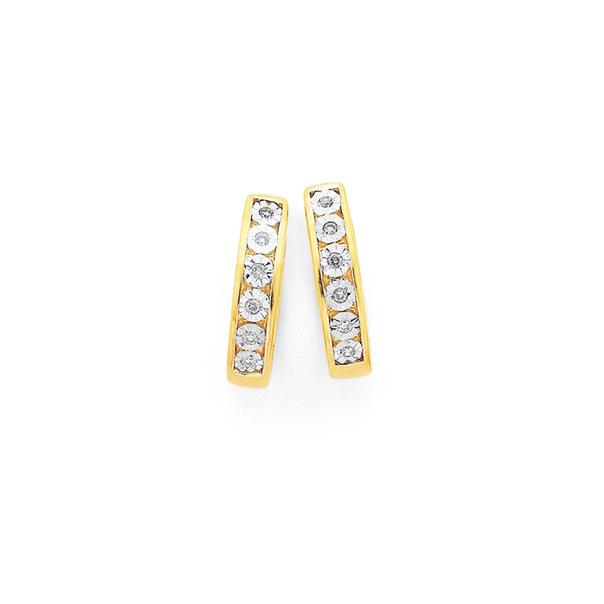 9ct Gold, Diamond Huggie Earrings