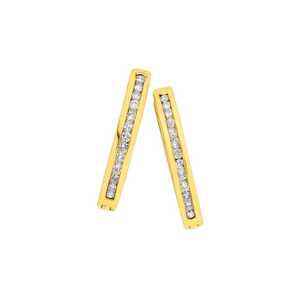 9ct Gold, Diamond Huggies