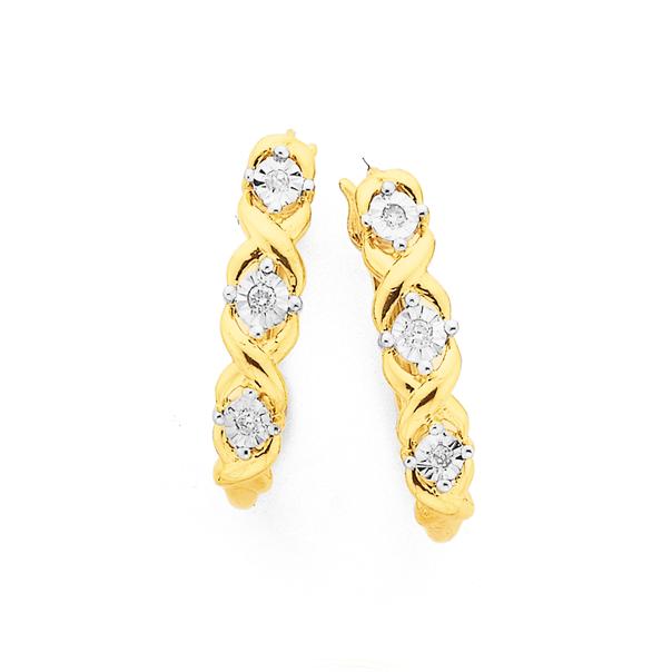 9ct Gold Diamond Hugs & Kisses Hoop Earrings