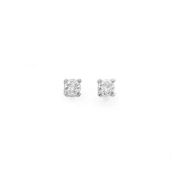 9ct Gold Diamond Illusion Set Stud Earrings