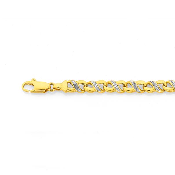 9ct Gold Diamond Infinity Bracelet