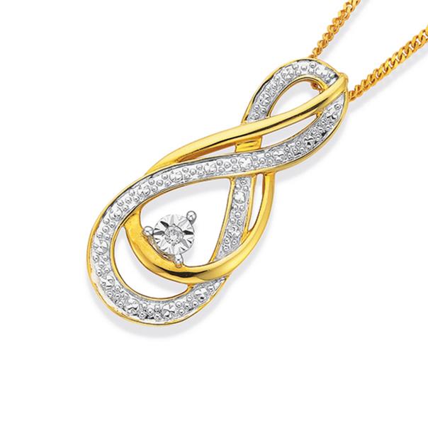 9ct Gold Diamond Infinity Pendant