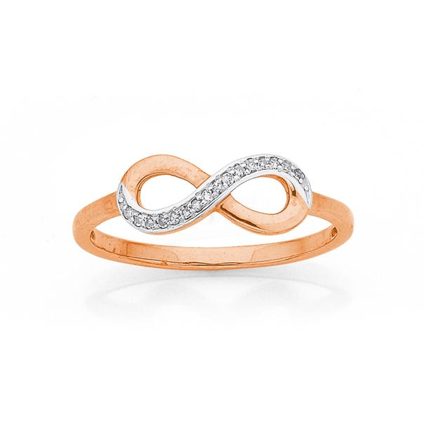 9ct Gold, Diamond Infinity Ring