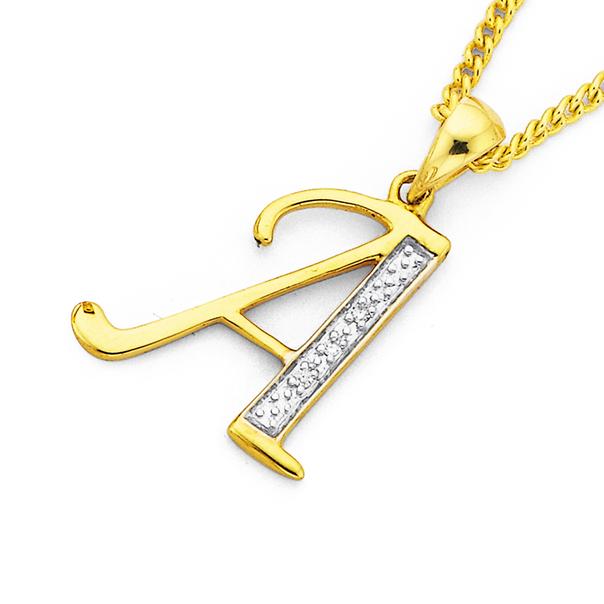 9ct Gold, Diamond Initial A Pendant