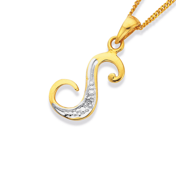 9ct Gold, Diamond Initial 'S' Pendant