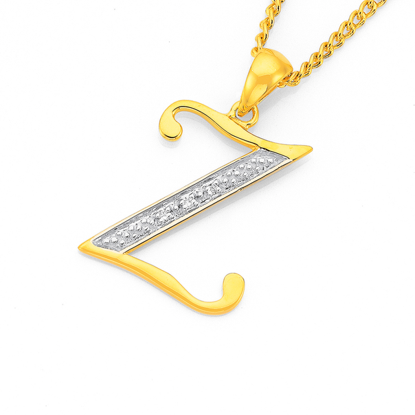 9ct Gold Diamond Initial Z Pendant