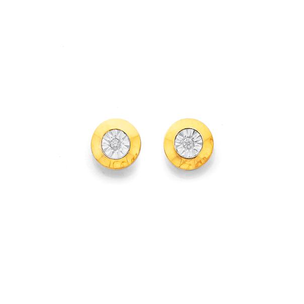 9ct Gold Diamond Miracle Bezel Set Studs