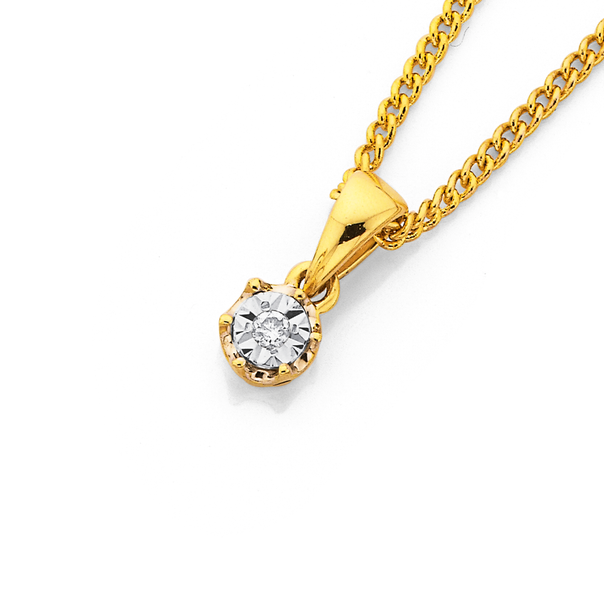 9ct Gold Diamond Miracle Set Solitaire Pendant