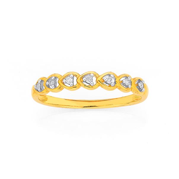 9ct Gold, Diamond Multi Heart Band
