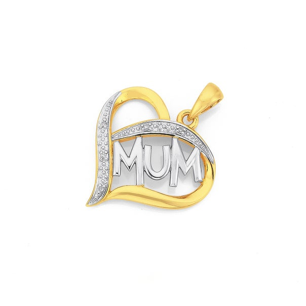 9ct Gold Diamond Mum Heart Pendant