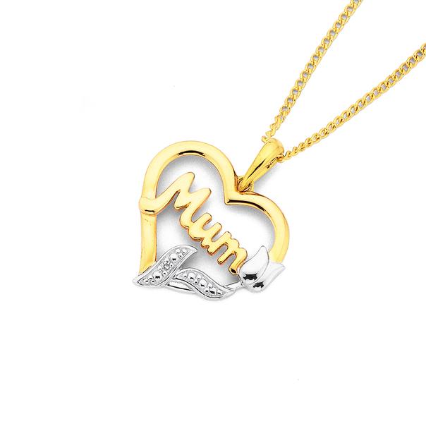 9ct Gold, Diamond 'Mum' Tulip Heart Pendant