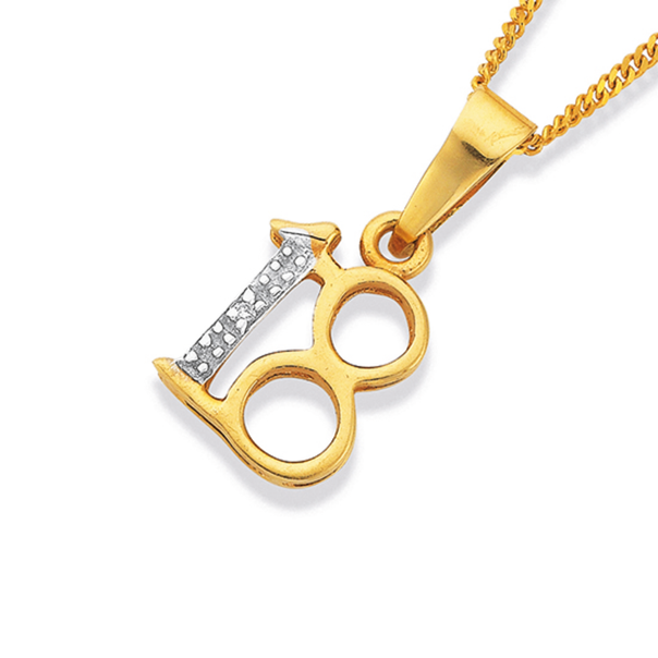 9ct Gold Diamond Number '18' Pendant