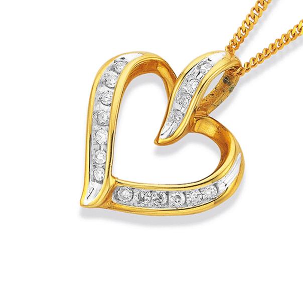 9ct Gold Diamond Open Heart Pendant