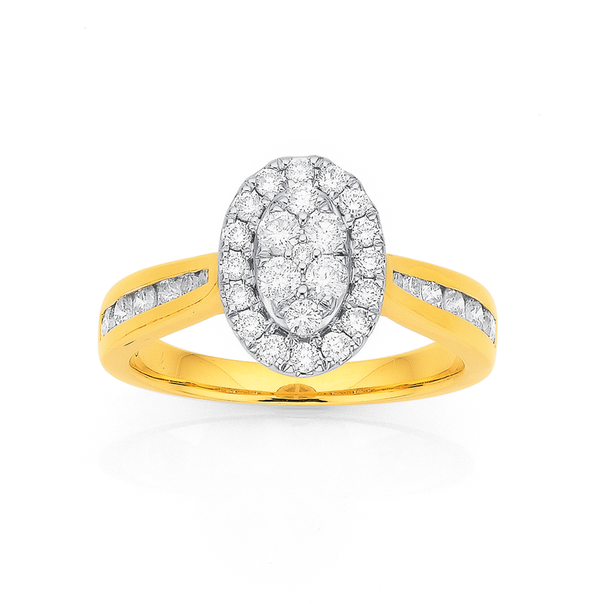 9ct Gold Diamond Oval Cluster Ring