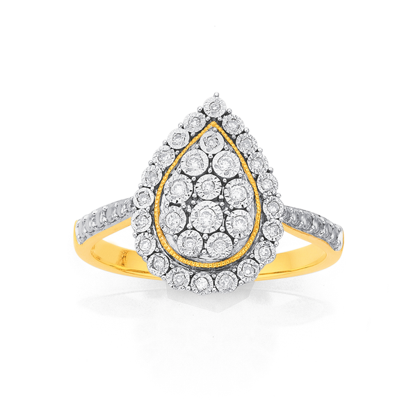9ct Gold Diamond Pear Cluster Ring