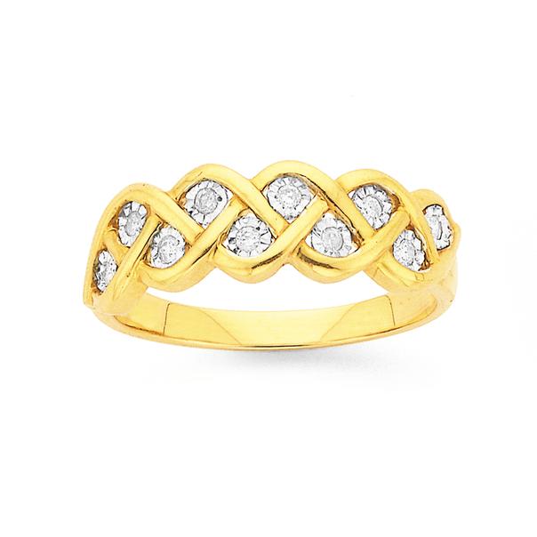 9ct Gold, Diamond Plait Ring